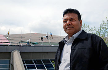 Project manager Ashwani (Ash) Gupta is overseeing the Olympic Oval reroofing, ensuring all waste is diverted from landfill. Photo by Elizabeth Brennan