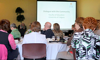 Dozens of community members were invited to help the education faculty determine its vision for 21st century education.
